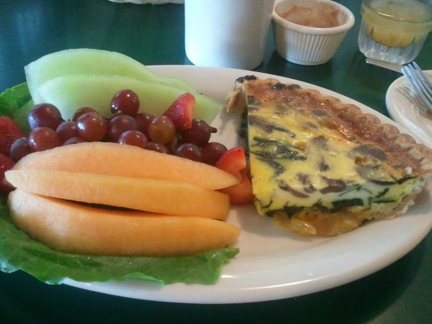 quiche and fruit from apple barn