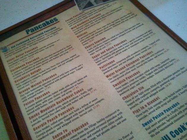 pancake menu