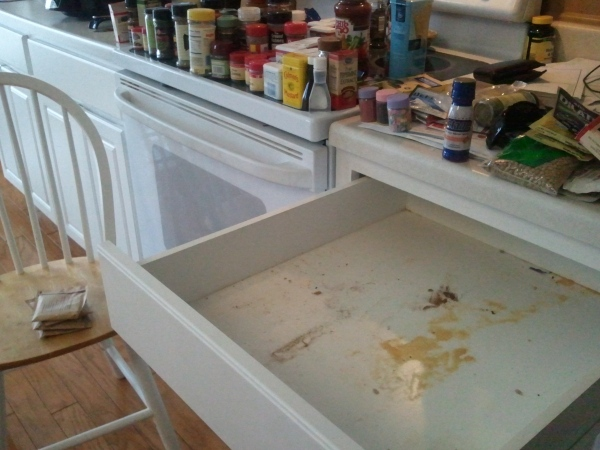 Yuk.  Just look at that nasty drawer with the spilled spices.