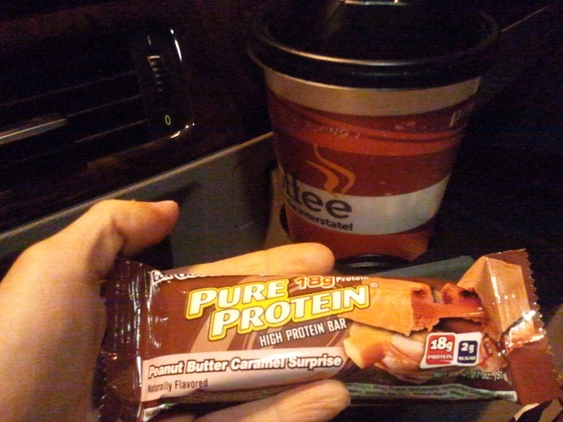 protein bar and coffee