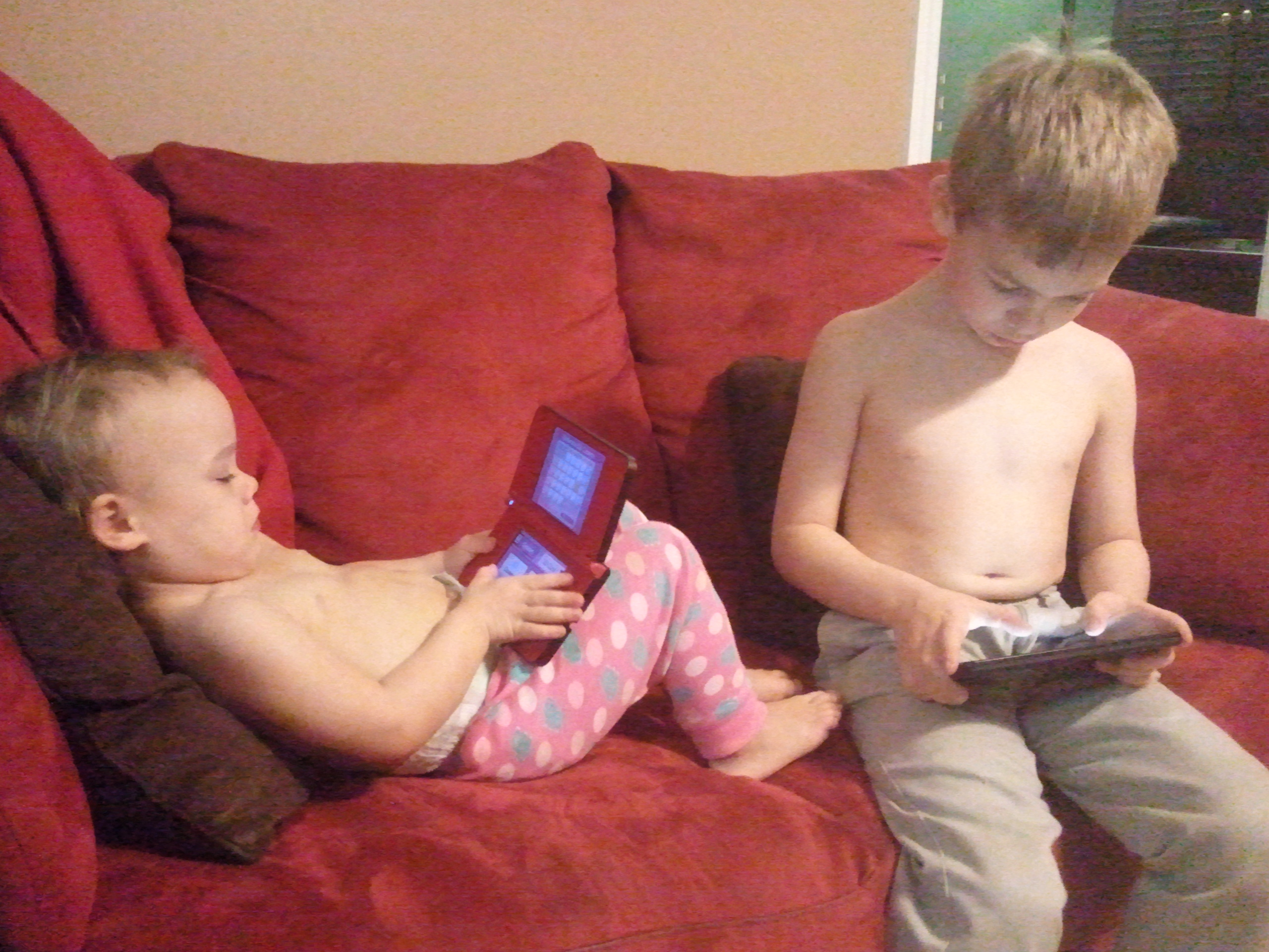 playing with naked toddler