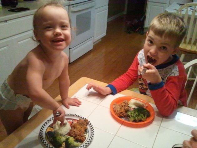 kids eating meat loaf